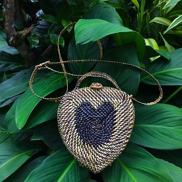 Acorn shape with Heart Design Abaca