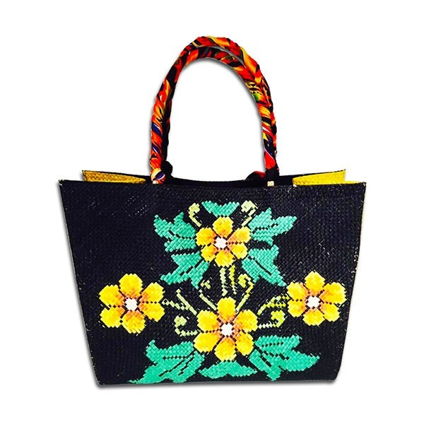 Yellow Flowers On Blue Leaves Abaca Bag