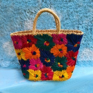 Iris Raffia Bag with Colorful Flower Embroidery