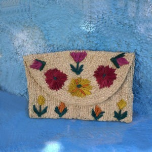 Sabella Raffia Embroidered Purse
